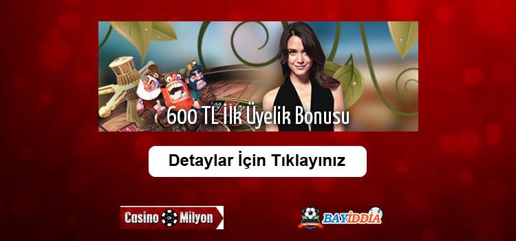 Casinomilyon Hoşgeldin Bonusu 600 TL Oldu